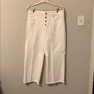 Button front, high waisted wide leg pants